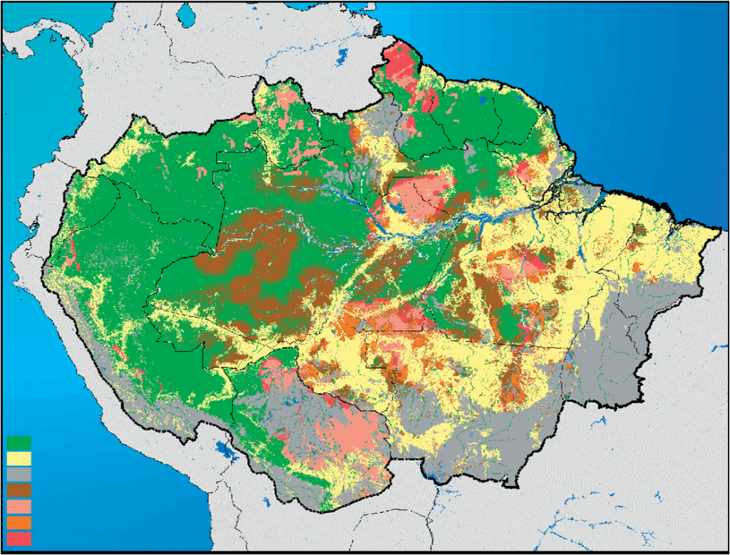 Map shows areas of deforestation. Yellos are áreas of high defrostation. Green is intact forest. Note the straight yellow lines that follow cross-cutting highways. Notice that Loreto is almost completely intact.(2)