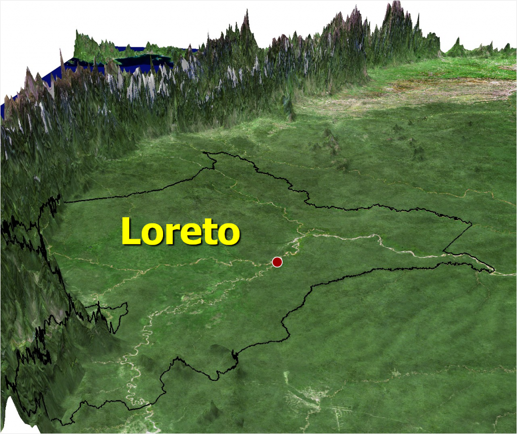 Map shows elevation levels in Loreto. Red dot indicates what is widely recognized as the technical start of the Amazon River.