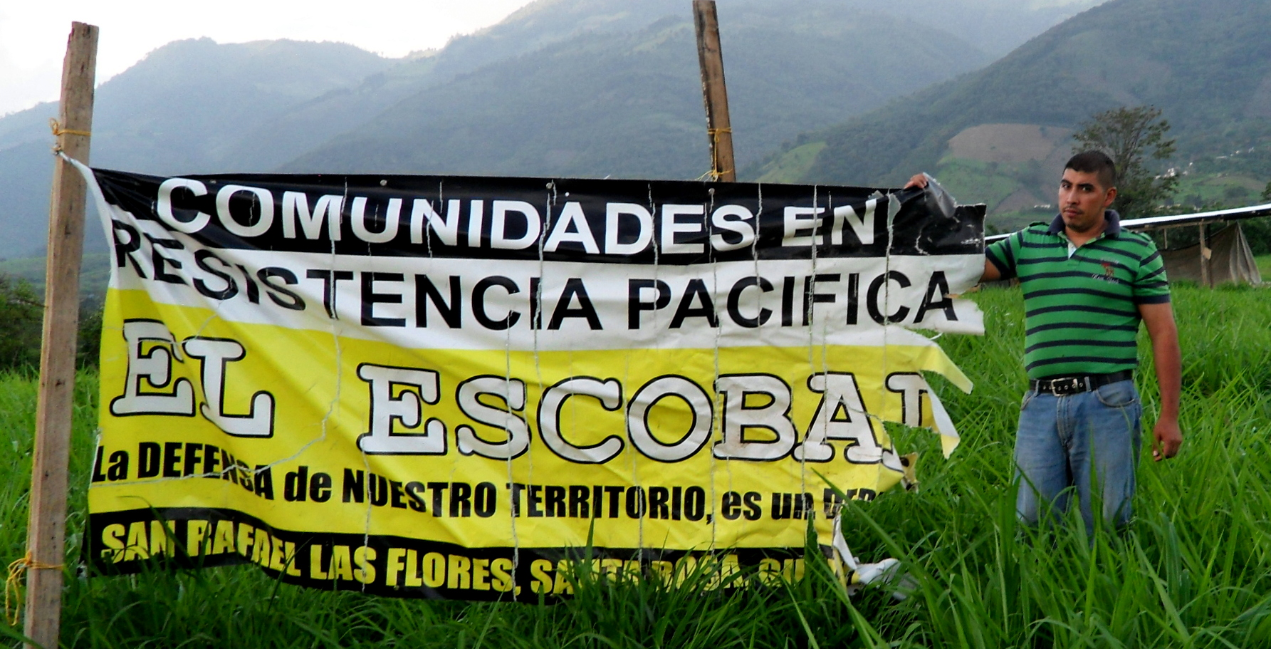 """""""Communities in peaceful resistance to Escobal. The defense of our lands is a right."""" Credit: Lisa Rankin"""
